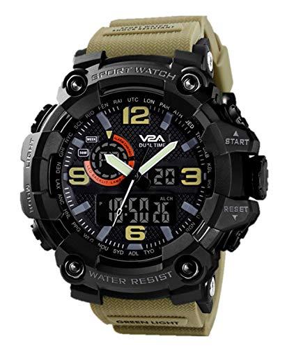 V2A Military Khakhi Analog Digital Sport Watches for Men's and Boys (Khakhi)