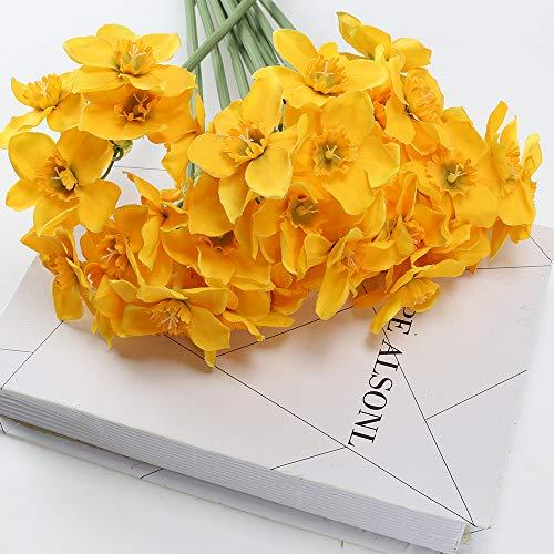XHXSTORE 12pcs Künstliche Blumen deko Kunstblumen Narzissen Seidenblumen Gelb Plastikblumen Unechte Blumen Narzisse für Drinnen Draußen Topf Tischdeko Balkon Vase Terrarium Dekoration