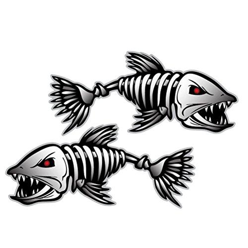 OULII Aufkleber Fisch Knochen Skelett Fenster Auto Dekoration, 2 Stück