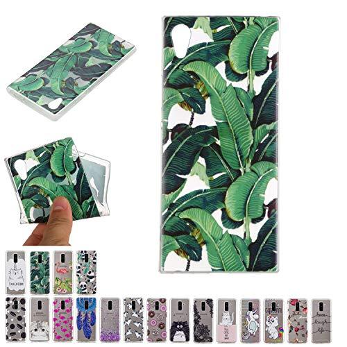 E-Mandala Funda Sony Xperia L1 Hojas Tropicales Carcasa Transparente con Dibujos Case Cover Silicona Gel TPU Goma Bumper Ultra Fina Slim