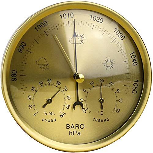 Cakunmik Barómetro de precisión 3 en 1 - Estación meteorológica, termómetro higrómetro para Interiores y Exteriores con Estructura de Acero Inoxidable