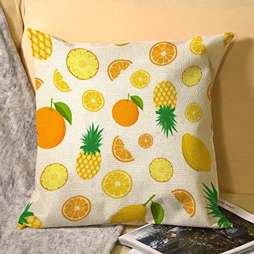 happygoluck1y - Funda de cojín de lino con estampado de frutas tropicales de fondo de color limón 45 cm x 45 cm, cuadrada, 18 x 18 cm, con cojines con cremallera, funda para sofá o decoración del hogar