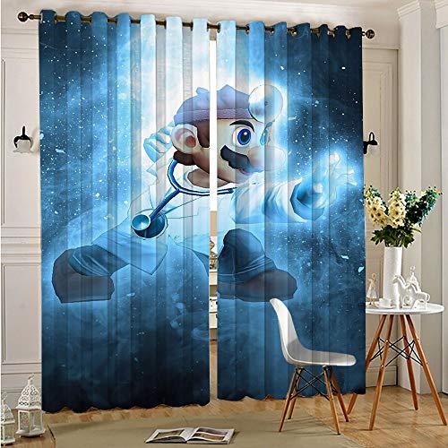 Cortina oscurecida para habitación Super Mario-Super Mario Bros Dr Mario, cortinas opacas con ojales sólidos, 2 paneles de cocina, café, 140 x 180 cm x 2 piezas