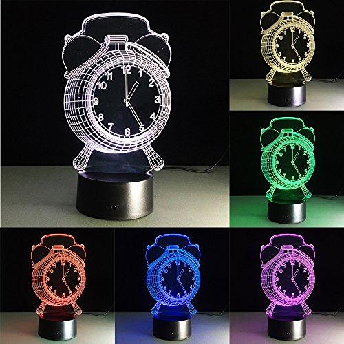 3D Der Wecker Glühen LED Lampe 7 Farben Illusion Lampe Ferneinstellung Lichter produziert einzigartige Lichteffekte und 3D-Visualisierung für Home Decor-kreative Geschenk (USB-Stromversorgung)