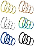 24 Piezas 20 Gauge Pendientes de Acero Inoxidable Aro de Nariz para Piercing de Cuerpo, 4 Tamaños(Conjunto de Colores 1)