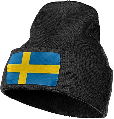 hgfyef Dicke Strickmütze für Unisex, 100% Acrylsäure Schweden Flagge Ski Cap DIY 13114