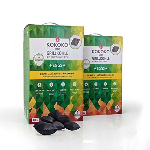 McBrikett KOKOKO EGGS 2 x 8kg, Bio Kokos-Grillkohle, Ideal für Dutchoven, Kugelgrill, Watersmoker