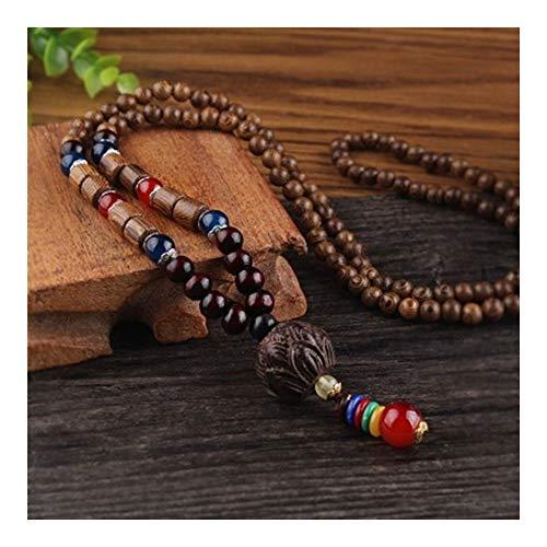 YUNGYE Pendant Retro Regalos de la Cadena étnico de Nepal Oración Lotus Cuernos de Ruedas Collares Pendientes for Las Mujeres del ala de Pollo Bolas de Madera suéter (Metal Color : Style2)