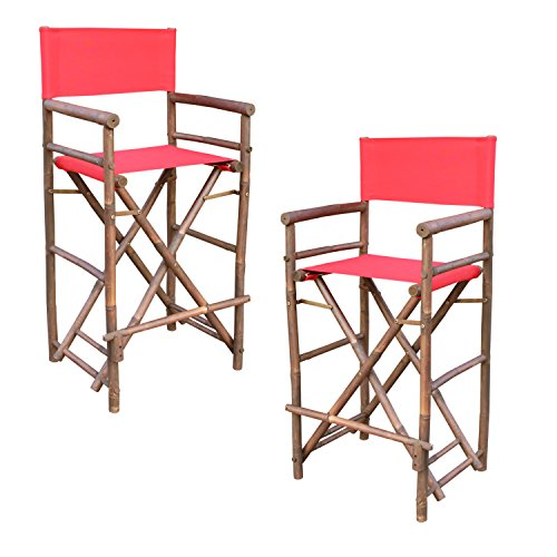 Statra Bamboo Barstool-Espresso Color Red Canvas Bar Height Folding Chairs Counter Stool Outdoor Indoor Tall Camping Set of 2, 15 x 15