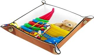 Boîte de rangement pliable en cuir PU pour bureau de couleur - Table de jeu carrée - Porte-monnaie - Porte-monnaie - Plate...