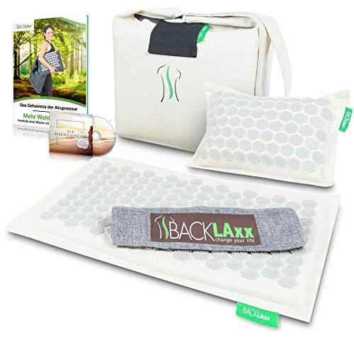 BACKLAxx Akupressurmatte Set: Entspannung für den Rücken, Nacken, Schulter und Fuß. Massagematte gegen Verspannungen bestehend aus Kissen, Matte, Tuch, Tasche, GRATIS Hörbuch & E-Book mit Anleitung.