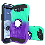 Atump Galaxy S3 Case, Galaxy S3 Phone Case with HD Screen Protector, 360 Degree Rotating Ring Holder Kickstand Bracket Cover Phone Case for Samsung Galaxy S3 Mint/Purple