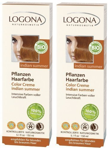 Logona Color Creme Henna Haarfarbe Pflanzenhaarfarbe indian summer im Doppelpack 2 x 150 ml