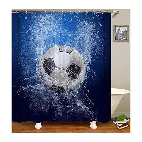 Epinki Duschvorhang Waschbar aus Polyester Fußball Muster Bad Vorhang Badewannenvorhang Blau mit 12 Duschvorhangringen für Badewanne Badezimmer - 180x200CM