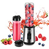 REDMOND Personal Blender, 300W Professional Countertop Smoothie Blender Stainless Steel with 2 Adjustable Speeds, 6 Powerful Blades, 2 x 21oz BPA-Free Portable Bottles for Shakes and Smoothies, BL016