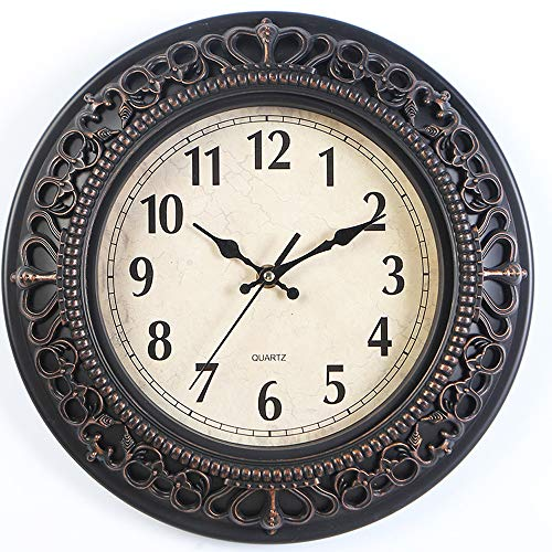 Tebery 12-Inch Silent Retro Quartz Clock Decorative Wall Clock for Home/Office/School