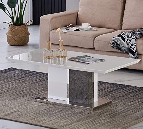 JYMTOM Coffee Table Side Table Marble Effect End Table Centre Table with Stainless Steel Base, Gray White High Gloss Living Room Furniture TLHHG0002B