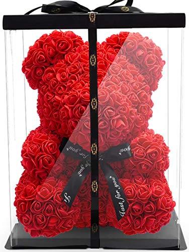 NADIR 40cm Blumenbär mit Geschenkbox - Rosenbären mit Schleife - Teddybär aus ewigen Rosen in voller Farbe - Geschenk für Freundin zum Valentinstag Jahrestag Geburtstag Muttertag Hochzeitstag