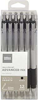 Office Depot Advanced Ink Retractable Ballpoint Pens, Needle Point, 0.7 mm, Silver Barrel, Black Ink, Pack Of 12