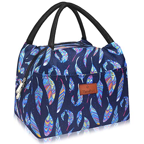 Vavabox Lunch Bag Cute Tote Bag Insulated Lunch Box Reusable Lunch Bag for Women/Men/Work/Picnic/Travel/Gift School/Office, Lunch Container (Blue feather Large)