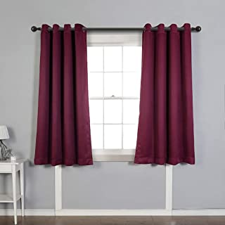 MYSKY HOME Solid Grommet top Thermal Insulated Window Blackout Curtains for Living Room, 52 by 63 inch, Burgundy (1 Panel)