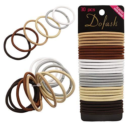 Dofash 30Pcs Super Ponytail Holders Multicolor Elastic Hair Ties No Crease Metal-Free Hair Bands - MONT-BLANC