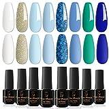 Orna Beauty Smalto Semipermanente per Unghie,8pzs Mare Blu Colore Series Bianco Azzurro Verde Glitterato Estate Smalti Semipermanente in Gel UV LED per Unghie Manicure Set Regalo