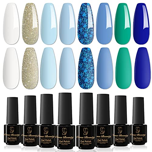 Orna Beauty Esmalte de Uñas Semipermanente,8 Colores Azul Marino Serie Azul Marino...