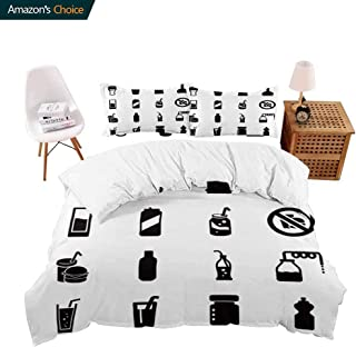 Hotel Luxury Bed Sheet Set-Sale soda Icons Set soda fille Icons Such as ister Bottle Drink Burger Full