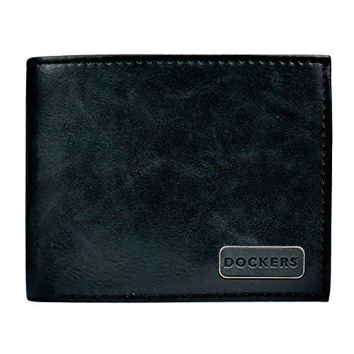 Dockers Leather Bifold Wallet-RFID Blocking Classic Single Fold Accesorio de Viaje- Billetera Plegable, Negro Casual, Talla única para Hombre