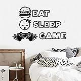 Eat Sleep Game Decal Game Player Wall Sticker Controller Sticker Decoración del hogar Video Game Decal Wall Sticker A1 42x27cm