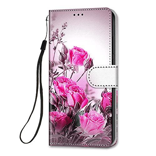 HopMore Funda para Xiaomi Redmi Note 9T / Note 9 5G Cuero con Tapa Silicona Dibujo Bonita Carcasa Billetera Resistente Estilo Libro Case Ranuras Tarjetas Cover 360 Grados Protectora - Blumen Rosa