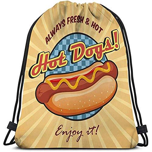 Trekkoord Tas Gym Amerikaanse Hot Dog Poster Sjabloon Sandwich Ketchup Mosterd Cool