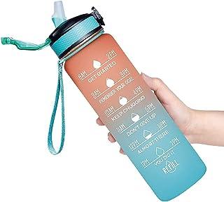 زجاجة مياه بسعة 1000 مل مع محدد الوقت ومصاصة، زجاجات مياه تحفيزية خالية من البيسفينول،Sports Water Bottle 1Lزجاجة كبيرة ما...