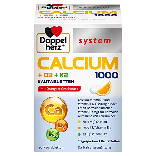 Doppelherz system CALCIUM 1000 + D3 + K2 – Calcium als Beitrag für den normalen Knochenerhalt - 60 Kautabletten