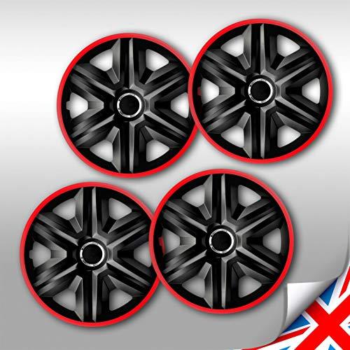 Radkappen schwarz rot 16 Zoll Fast Lux NRM, Radblenden 4er Set Radzierblenden