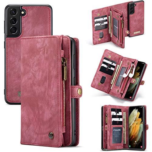 Happy-L Funda para Galaxy S21 5G (6.2 pulgadas), multifuncional, tipo cartera con cremallera, diseño desmontable, funda de piel sintética, color rojo