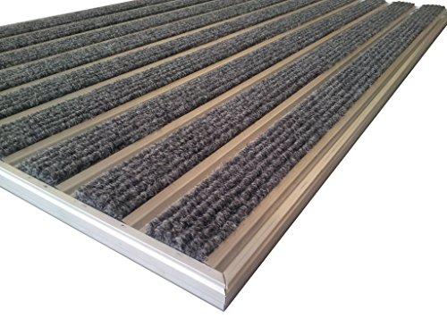 Proffessional - Alfombra de aluminio HD60, para instalación en estera de pozo, tamaño 92 x 56 cm, incluye perfil de marco en L, color gris.