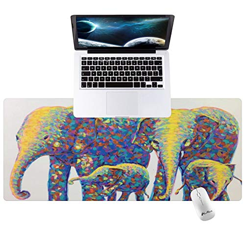 """Hunthawk Large Desk Mat, Elephant Family Mouse Pad, Desktop Home Office School Cute Decor Big Extended Pretty Desk Pad for Gaming Laptop Computer Accessories 35.4""""x15.7""""x0.1"""""""