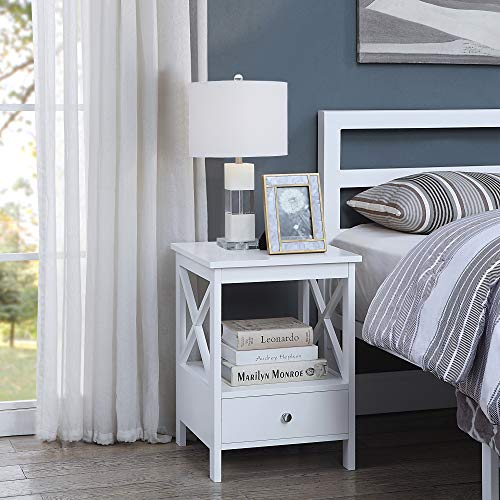 Great Features Of White Finish Nightstand Side End Table with Drawer and X-Design Sides