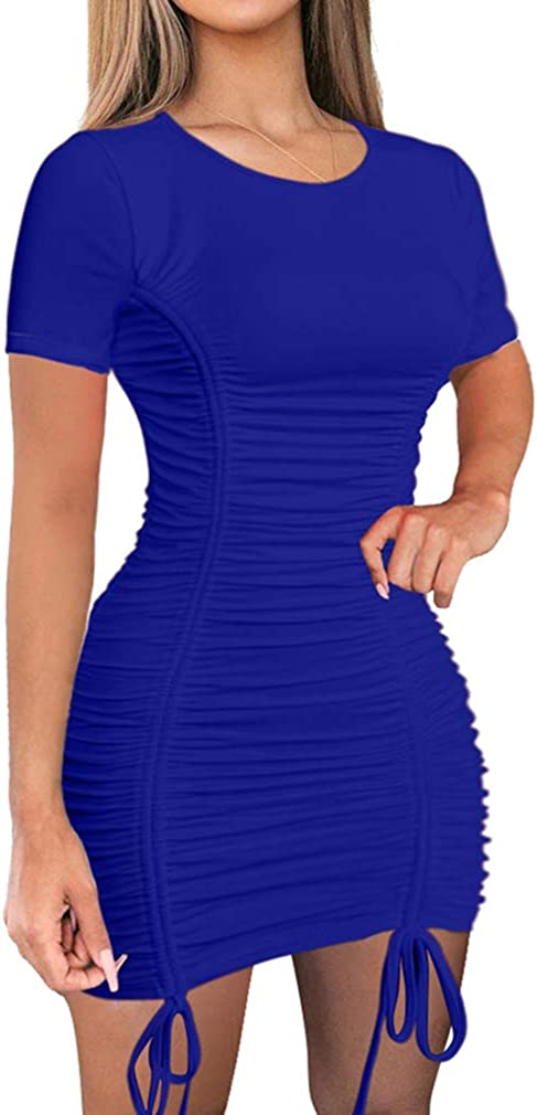 LAGSHIAN Women Sexy Summer Club Ruched Short Sleeve Drawstring Mini Bodycon Dress