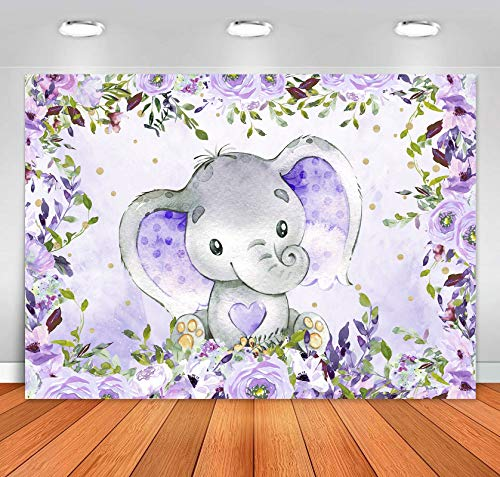 Sensfun Purple Floral Elephant Baby Shower Backdrop Girl Elephant Baby Shower Decorations Lavender It's A Girl Little Peanut Baby Shower Banner Elephant Birthday Party Supplies Photo Background 5x3ft