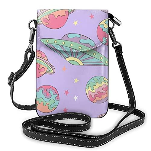 Planetas y OVNI patrón espacial señoras cartera bolsa de teléfono móvil mini bolsa de hombro con correa para el hombro monedero titular de la tarjeta