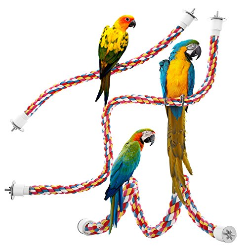 Jusney Bird Rope Perches,Parrot Toys 33 inches Rope Bungee Bird Toy (33 inches)[1 Pack]
