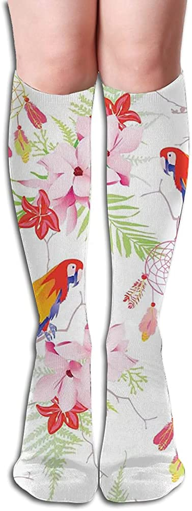 Men's and Women's Funny Casual Combed Cotton Socks,Forest with Parrots and Native s Spiritual Symbols Folk