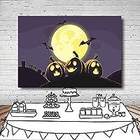 スタジオyoutube写真 暗い星空黄色の大きな月カボチャランタン 背景ブースの写真 ハロウィーンテーマパーティー新生児シャワー ビニールの背景を撃つ カートゥーン