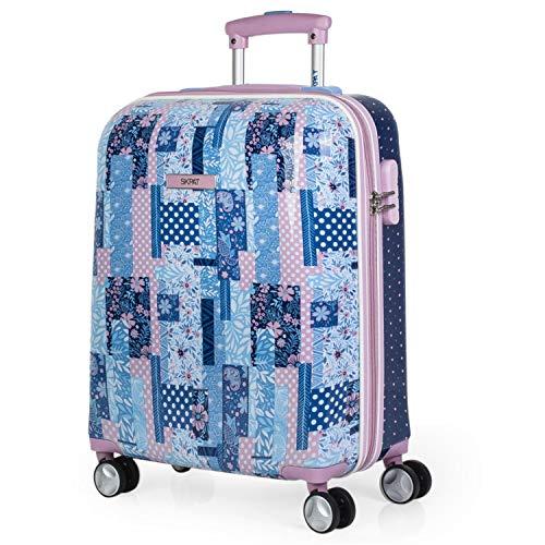 SKPAT - Reistas voor kinderen 4 wielen Trolley Cab 55x40x20 cm Gestempeld polycarbonaat. Stijf comfortabel en licht. Handbagage Student. Ideaal voor cadeau. 130050, Color Blauw