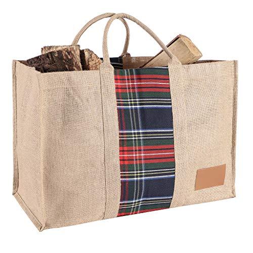 Dibor Bolsa de leña para chimenea, para almacenamiento de combustible, yute y madera