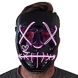 Trippy Lights Purge Mask LED Light Up Zipper Purge Mask for Kids Adults Halloween Costumes Mask Pink
