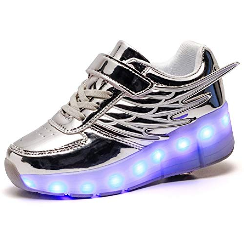 Axcer LED Blinkend Schuhe mit Rollen Automatisch Einziehbar Räder Skateboardschuhe Fitnessschuhe mit Flügel USB 7 Farbwechsel Rädern Gymnastik Laufschuhe Sneakers für Jungen Mädchen Xmas Gift